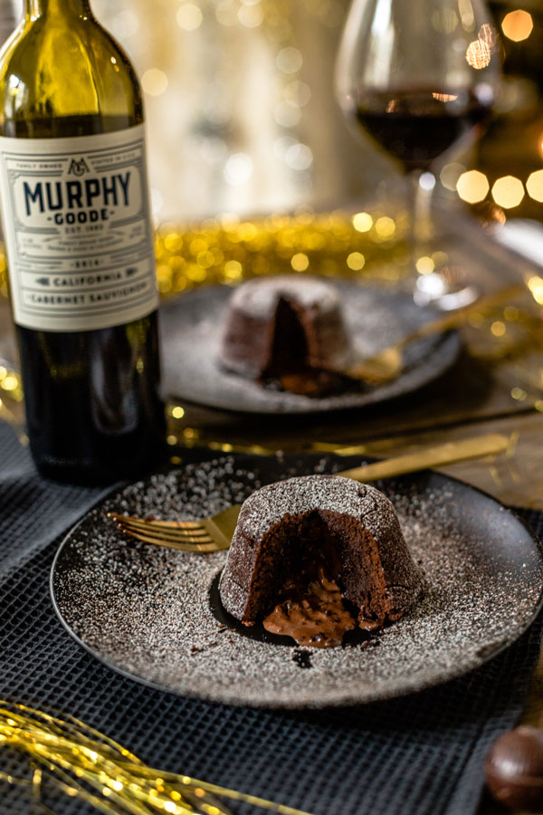 Dark Chocolate Molten Lava Cake for New Year's Eve