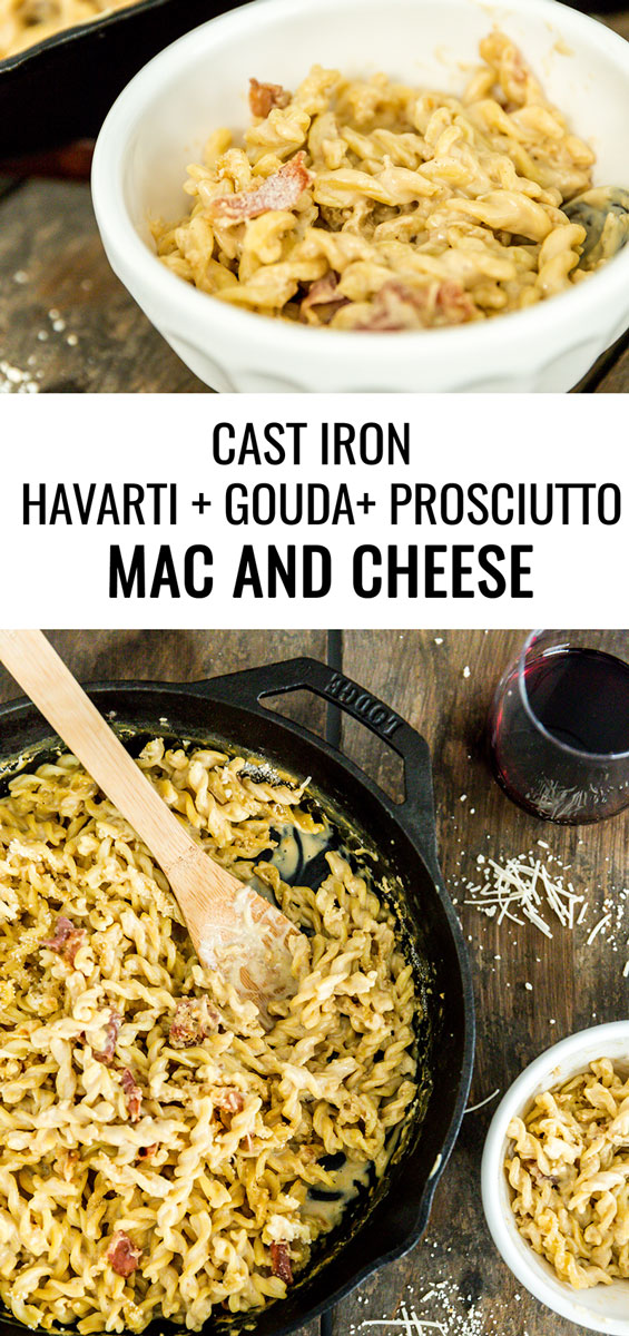 Our favorite childhood recipe is all grown up with this cast iron Havarti, Gouda and prosciutto macaroni and cheese. Time to dig in!