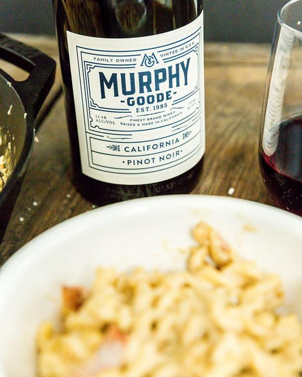 Grown-up mac & cheese and a glass of Pinot Noir.
