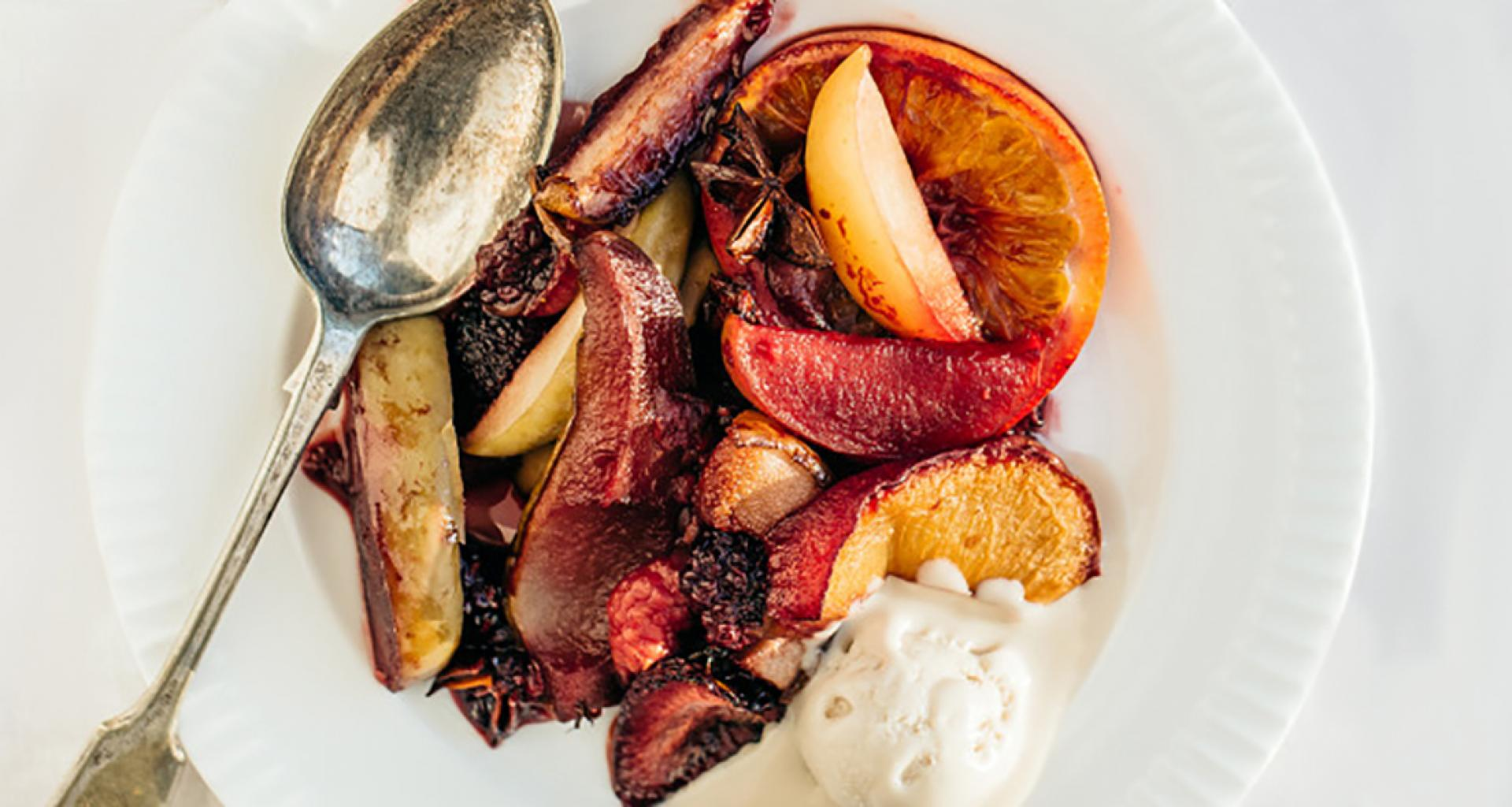 Roasted Sangria Fruit with Vanilla Cashew Ice Cream (Dairy Free)