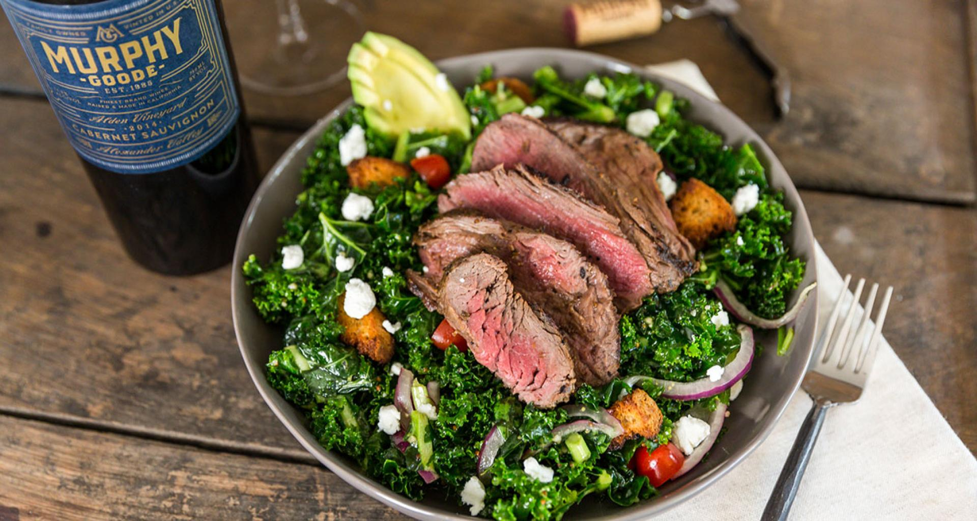 Enjoy a healthy take on fall flavors with this marinated spinach and kale steak bowl.
