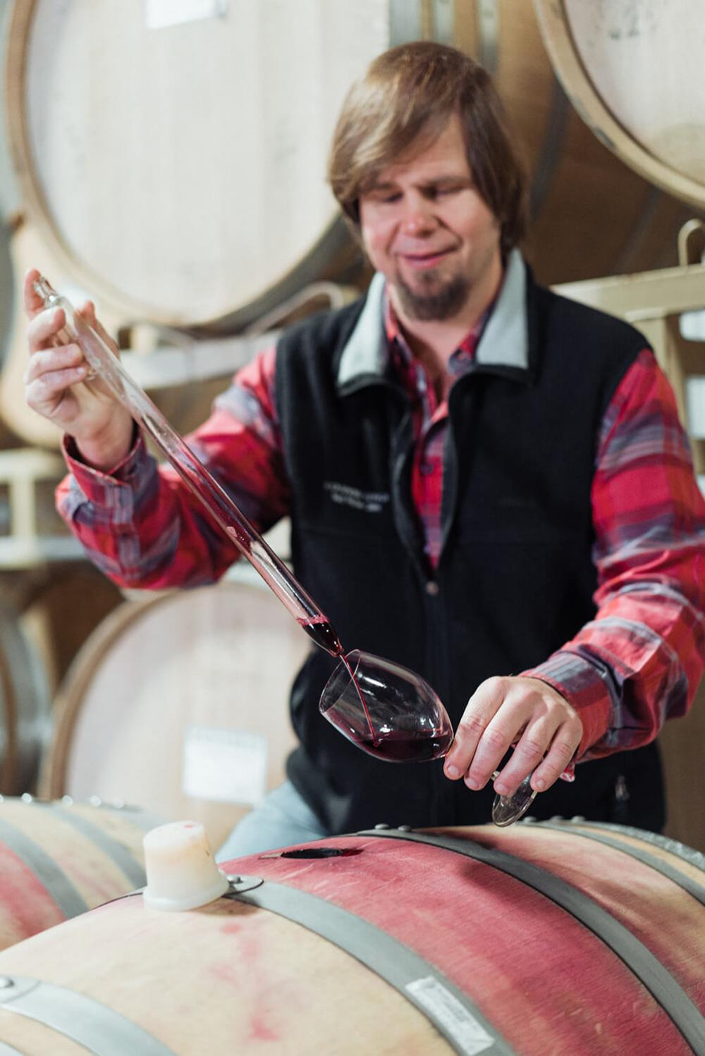 Murphy-Goode winemaker, Dave Ready Jr., tasting Pinot Noir